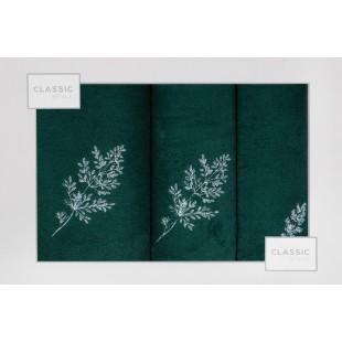 3- časťový komplet osušky a uterákov tmavozelej farby s motívom rastliny
