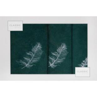 3- časťový komplet osušky a uterákov s motívom rastliny tmavozelenej farby