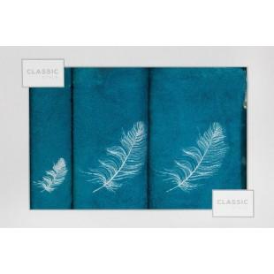 3- časťový komplet osušky a uterákov tyrkysovej farby s motívom rastliny