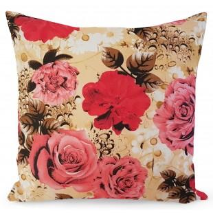 Krémová obliečka na dekoračný vankúš s kvetinovým vzorom