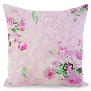 Ružová obliečka na dekoračný vankúš s kvetinovým motívom
