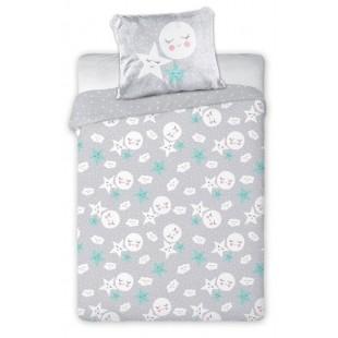 Bavlnená sivá posteľná obliečka s hviezdičkami