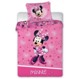Ružová bavlnená posteľná obliečka s myškou Minnie