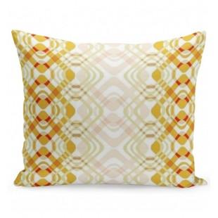 Retro krémovo žltá obliečka na vankúš so vzorom