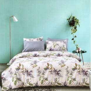 Biela posteľná obliečka z mikrovlákna s rastlinným vzorom