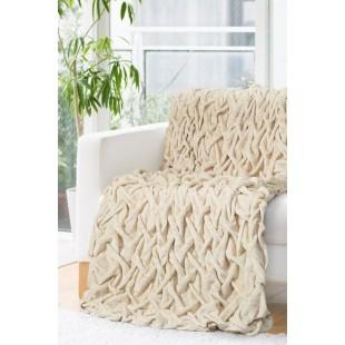 Plyšová krémová deka so vzorom