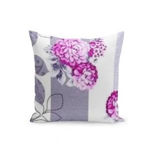 Sivo biela dekoračná návliečka na vankúšik s fialovými kvetmi
