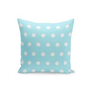 Modrá obliečka na vankúšik s bielymi bodkami
