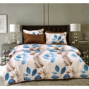 Béžová obojstranná posteľná obliečka z mikrovlákna s motívom listov