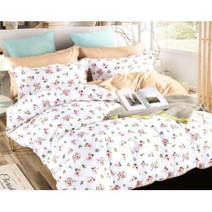 Biela obojstranná posteľná obliečka z mikrovlákna s kvetinovým motívom