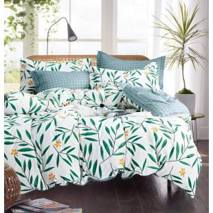 Bielo-zelená obojstranná posteľná obliečka z mikrovlákna s rastlinným motívom