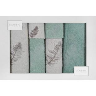 Sada 6 ručníkov mätovo-striebornej farby