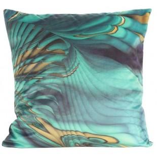 Tyrkysová zamatová obliečka na dekoračný vankúš so vzorom