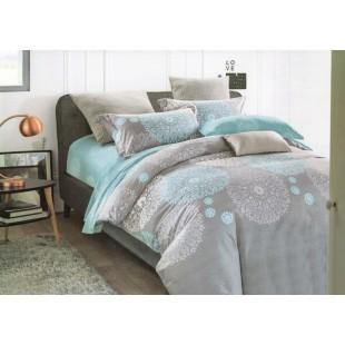 Sivo-modrá posteľná obliečka zo saténovej bavlny s geometrickými vzormi