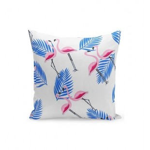 Bielo ružovo modrá obliečka na vankúš s plameniakmi a palmovými listami