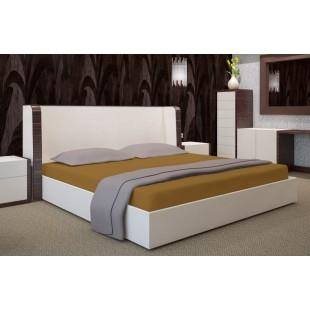 Tmavožltá bavlnená posteľná plachta s napínacou gumičkou