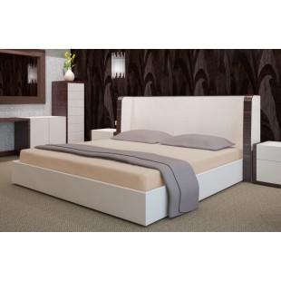 Béžová flanelová posteľná plachta bez napínacej gumičky