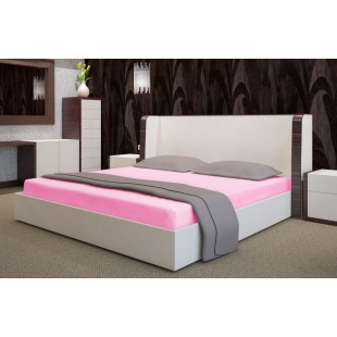 Ružová flanelová posteľná plachta bez napínacej gumičky
