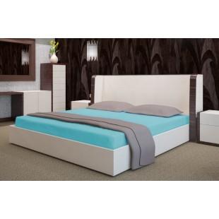 Tyrkysová flanelová posteľná plachta s napínacou gumičkou