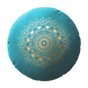 Tyrkysový zamatový vankúš s motívom mandaly