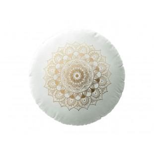 Biely zamatový vankúš s motívom mandaly