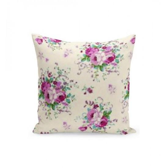 Krémová obliečka na vankúš s motívom ružovej kytice