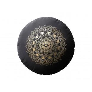 Čierny zamatový vankúš s motívom mandaly