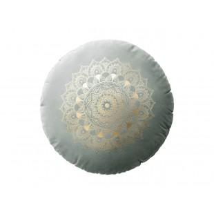 Svetlosivý zamatový vankúš s motívom mandaly
