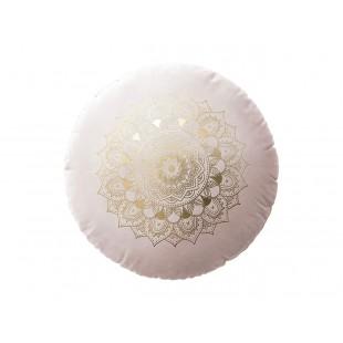 Púdrovo ružový zamatový vankúš s motívom mandaly