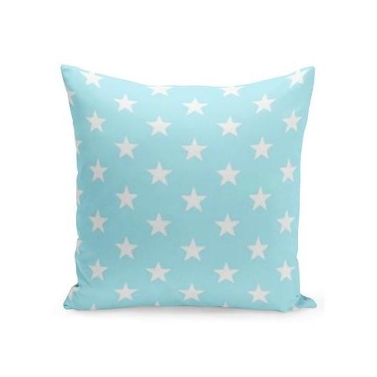 Modrá dekoračná obliečka na vankúš s bielymi hviezdami