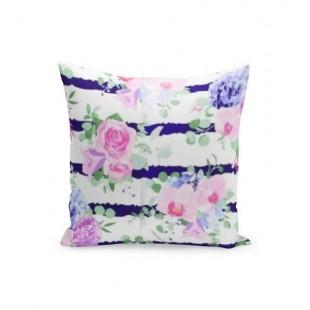Bielo fialová obliečka na vankúš s ružami