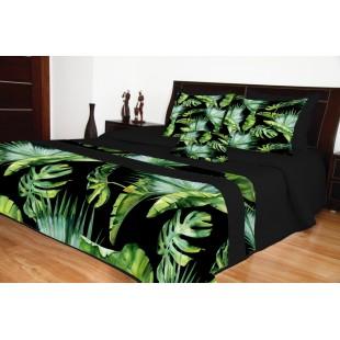 Čierny prešívaný prehoz na posteľ so zeleným rastlinným motívom