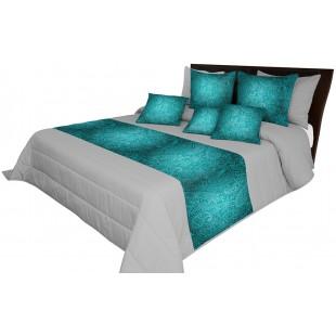 Sivý prešívaný prehoz na posteľ s tyrkysovým pásom