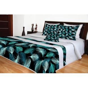 Sivý prešívaný prehoz na posteľ s tyrkysovými pierkami
