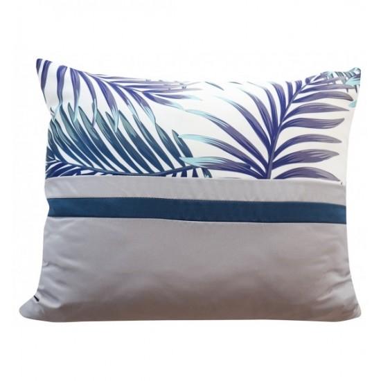 Dekoračná sivo modrá obliečka na vankúš s motívom palmových listov