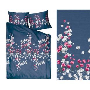 Tmavomodrá posteľná obliečka z bavlneného saténu s motívom kvetov