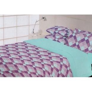 Fialovo-modrá posteľná obliečka zo saténovej bavlny
