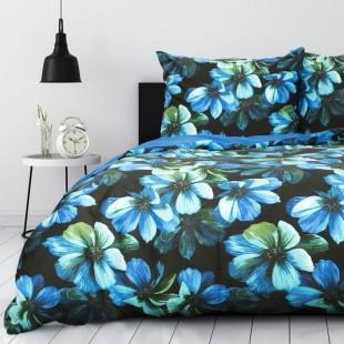Modrá bavlnená posteľná obliečka s kvetinovým motívom