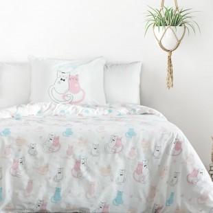 Biela bavlnená posteľná obliečka s mačiatkami