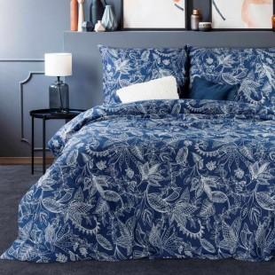 Modrá bavlnená posteľná obliečka so vzormi