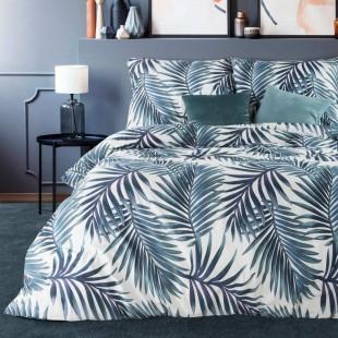 Bielo-zelená bavlnená posteľná obliečka s rastlinným vzorom