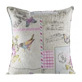 Krémovo ružová vintage dekoračná obliečka s vtáčikmi