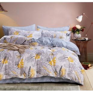 Biela obojstranná posteľná obliečka z mikrovlákna s rastlinným motívom