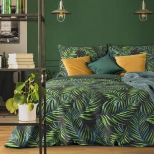 Čierno-zelená posteľná obliečka zo saténovej bavlny s rastlinným motívom