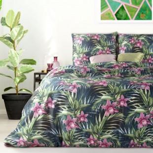 Zeleno-ružová posteľná obliečka zo saténovej bavlny s kvetinovým motívom