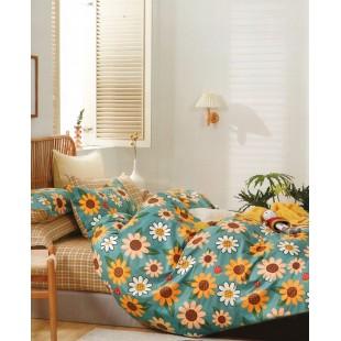 Tyrkysová obojstranná posteľná obliečka zo saténovej bavlny s kvetinovým motívom