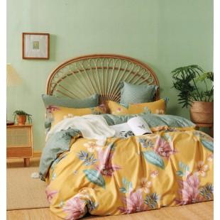 Žltá obojstranná posteľná obliečka zo saténovej bavlny s rastlinným motívom