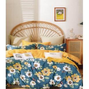 Modro-žltá posteľná obliečka zo saténovej bavlny s kvetinovým motívom