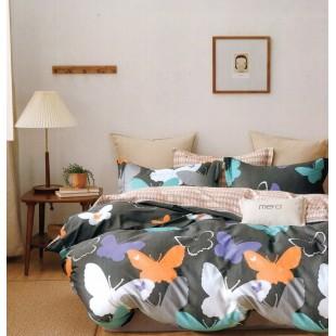 Sivá obojstranná posteľná obliečka zo saténovej bavlny s motívom motýľov