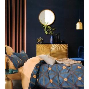 Modro-hnedá obojstranná posteľná obliečka zo saténovej bavlny so vzormi